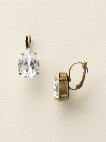 Classic Teardrop French Wire Earring in Antique Gold-tone Crystal Clear