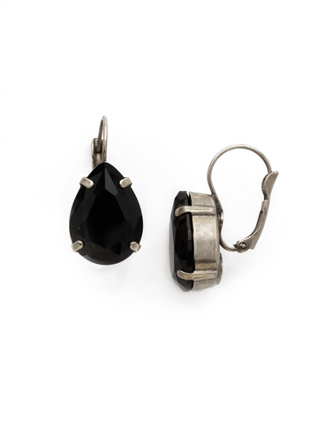 Classic Teardrop French Wire Earring in Antique Silver-tone Black Onyx