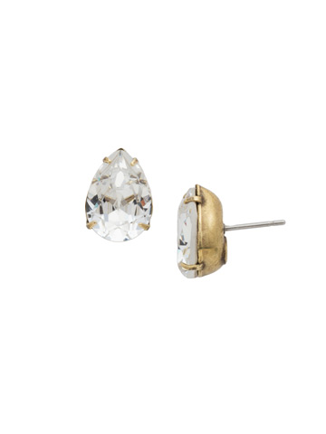 Classic Teardrop Post Earring in Antique Gold-tone Crystal