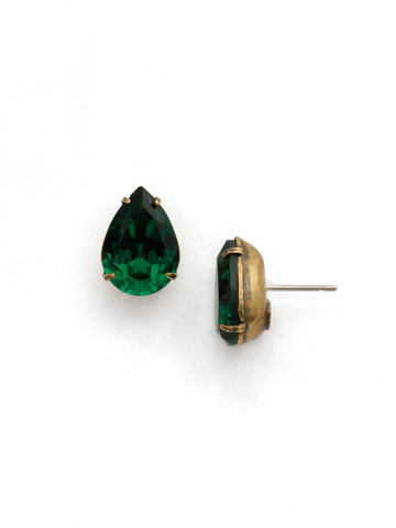 Classic Teardrop Post Earring in Antique Gold-tone Emerald