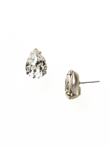 Classic Teardrop Post Earring in Antique Silver-tone Crystal