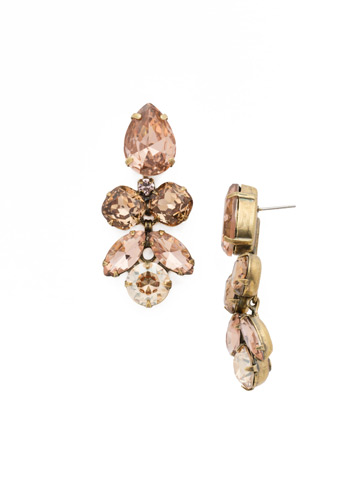 Crystal Lotus Flower Earring in Antique Gold-tone Apricot