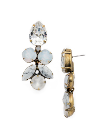 Crystal Lotus Flower Earring in Antique Gold-tone Pearl Luster