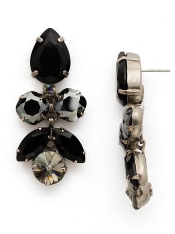 Crystal Lotus Flower Earring in Antique Silver-tone Black Onyx