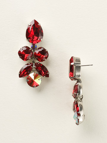 Crystal Lotus Flower Earring in Antique Silver-tone Cranberry