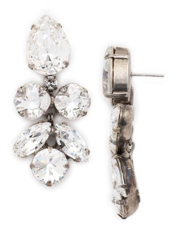 Crystal Lotus Flower Earring in Antique Silver-tone Crystal