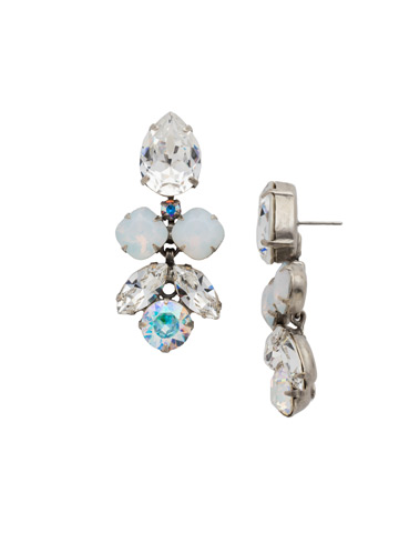 Crystal Lotus Flower Earring in Antique Silver-tone White Bridal