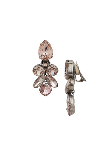 Crystal Lotus Flower Clip Earring in Antique Silver-tone Satin Blush