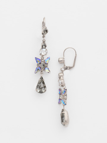 Delicate Flower Crystal Drop French Wire Earring in Antique Silver-tone Crystal Rock