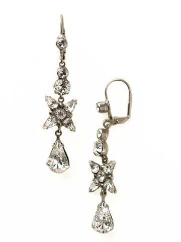 Delicate Flower Crystal Drop French Wire Earring in Antique Silver-tone Crystal