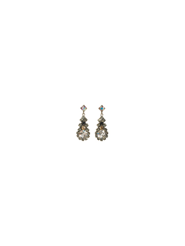 Round Cut Crystal Cluster Post Earring in Antique Silver-tone Evening Moon