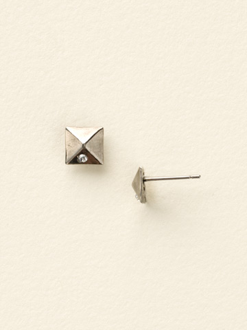 Miniature Pyramid Stud Earring in Antique Silver-tone Crystal