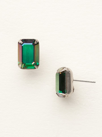 Petite Emerald Cut Post Earring in Antique Silver-tone Viridescence