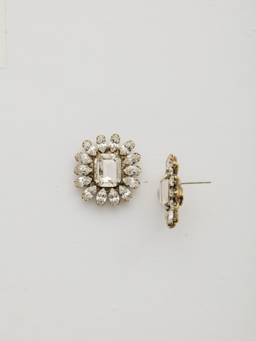 Botanical Post Earring in Antique Gold-tone Crystal