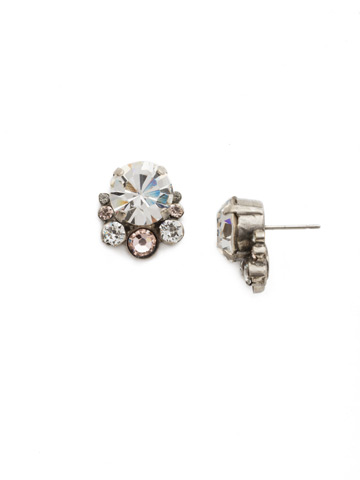 Multi-Cut Round Crystal Cluster Post Earring in Antique Silver-tone Snow Bunny
