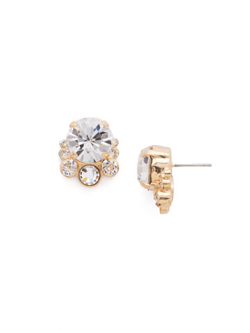 Multi-Cut Round Crystal Cluster Post Earring in Bright Gold-tone Crystal