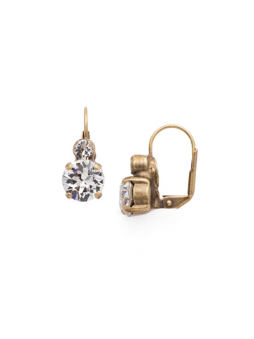 Round Crystal French Wire Earring in Antique Gold-tone Crystal