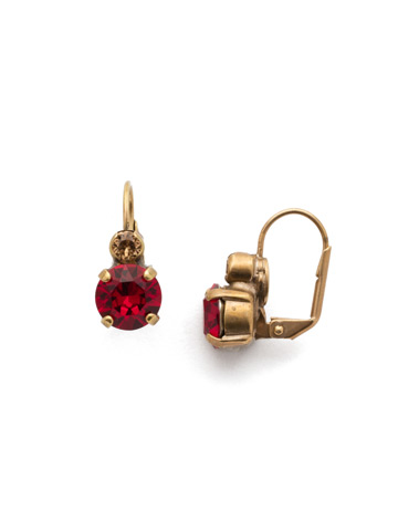 Round Crystal French Wire Earring in Antique Gold-tone Go Garnet