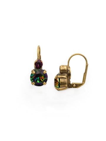 Round Crystal French Wire Earring in Antique Gold-tone Royal Plum