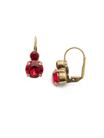 Round Crystal French Wire Earring in Antique Gold-tone Sansa Red