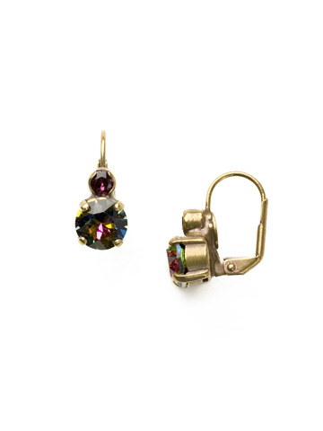 Round Crystal French Wire Earring in Antique Gold-tone Volcano