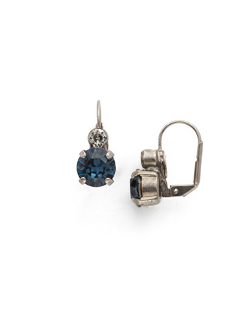 Round Crystal French Wire Earring in Antique Silver-tone Battle Blue
