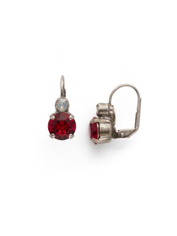 Round Crystal French Wire Earring in Antique Silver-tone Crimson Pride