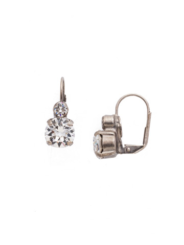 Round Crystal French Wire Earring in Antique Silver-tone Crystal