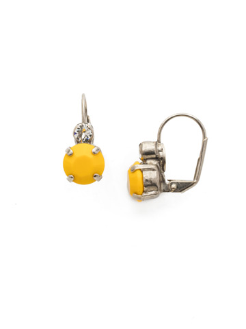 Round Crystal French Wire Earring in Antique Silver-tone Lemon Zest