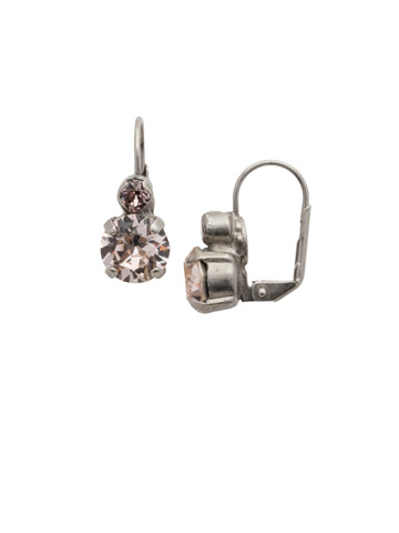 Round Crystal French Wire Earring in Antique Silver-tone Satin Blush