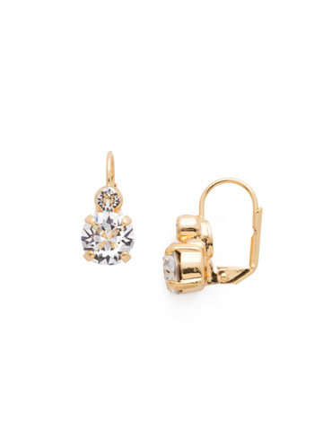Round Crystal French Wire Earring in Bright Gold-tone Crystal
