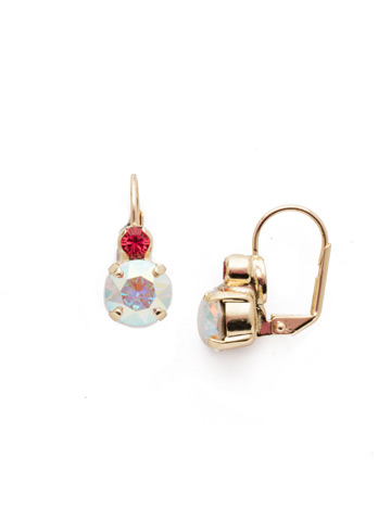 Round Crystal French Wire Earring in Bright Gold-tone Island Sun
