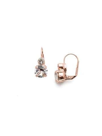 Round Crystal French Wire Earring in Rose Gold-tone Crystal