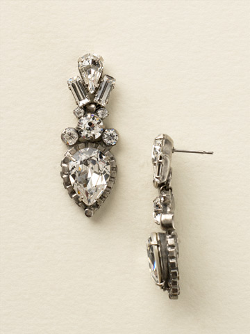 Curb Chain Accented Pear Crystal Statement Earrings in Antique Silver-tone Crystal