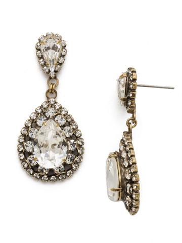 Oval Encrusted Crystal Statement Earring in Antique Gold-tone Crystal