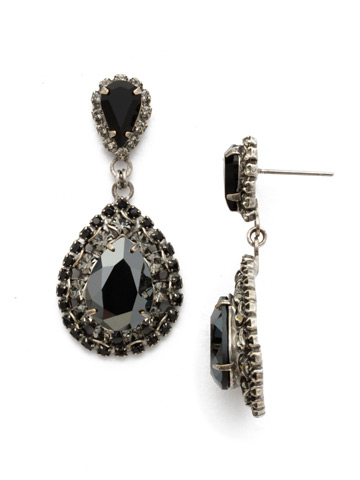 Oval Encrusted Crystal Statement Earring in Antique Silver-tone Black Onyx