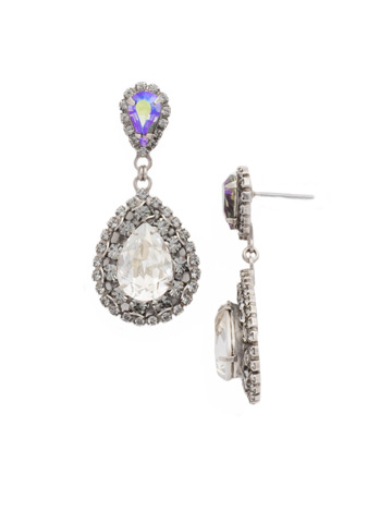 Oval Encrusted Crystal Statement Earring in Antique Silver-tone Crystal Rock