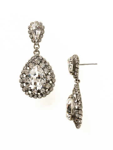 Oval Encrusted Crystal Statement Earring in Antique Silver-tone Crystal