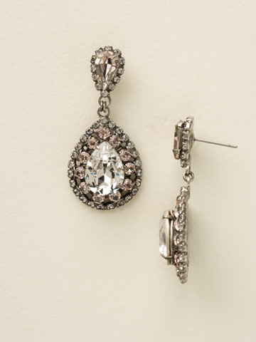 Oval Encrusted Crystal Statement Earring in Antique Silver-tone Snow Bunny