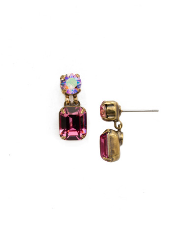 Crystal Octagon and Round Post Earring in Antique Gold-tone Pink Passion