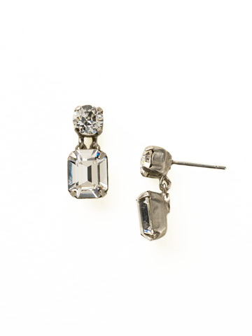 Crystal Octagon and Round Post Earring in Antique Silver-tone Crystal