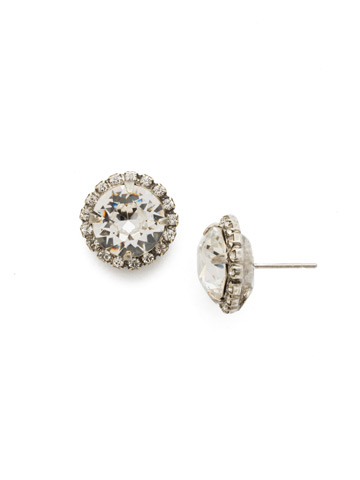 Haute Halo Post Earring in Antique Silver-tone Crystal
