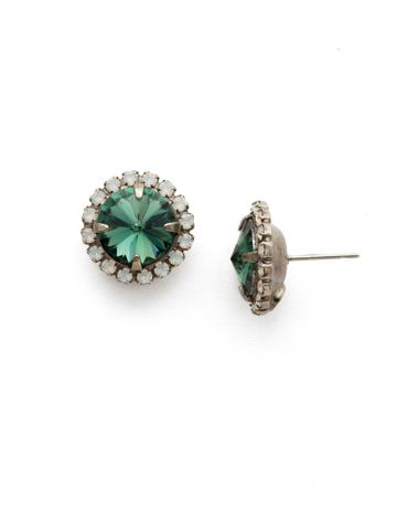 Haute Halo Post Earring in Antique Silver-tone Game Day Green