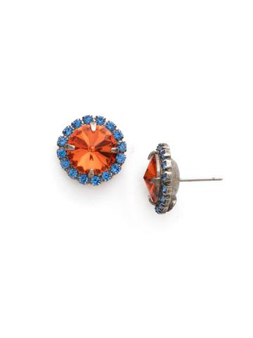 Haute Halo Post Earring in Antique Silver-tone Orange Crush