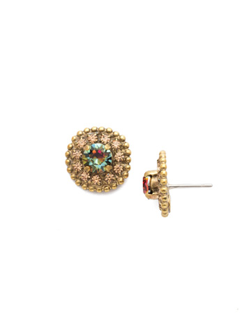 Accented Round Crystal Post Earring in Antique Gold-tone Volcano