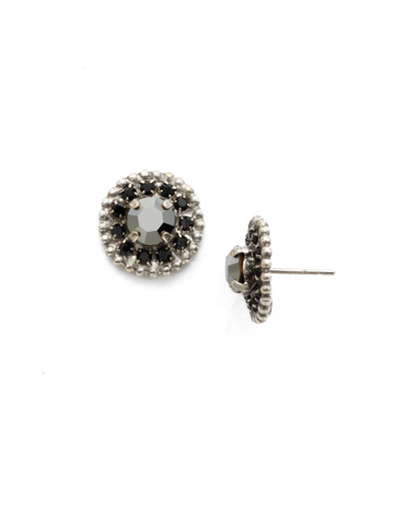 Accented Round Crystal Post Earring in Antique Silver-tone Black Onyx