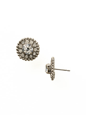 Accented Round Crystal Post Earring in Antique Silver-tone Crystal