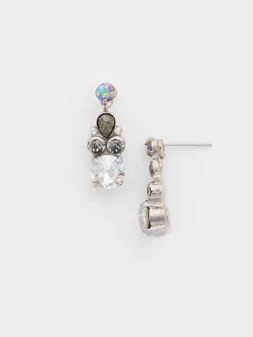 Round and Pear Crystal Post Earring in Antique Silver-tone Crystal Rock