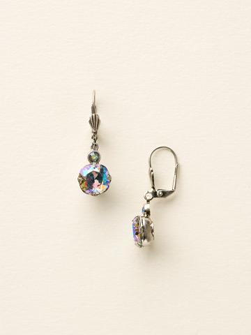 Petite Cushion-Cut French Wire Earring in Antique Silver-tone Black Diamond Aurora Borealis
