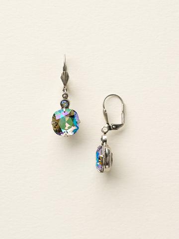 Medium Cushion-Cut French Wire Earring in Antique Silver-tone Black Diamond Aurora Borealis